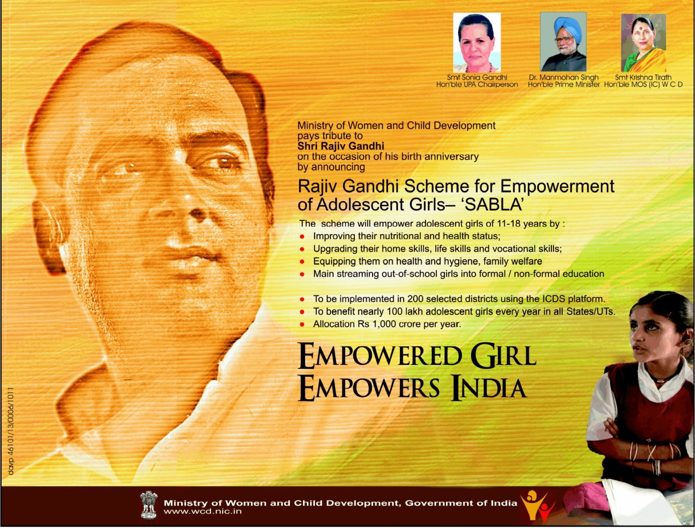 What is the Rajiv Gandhi Scheme for Empowerment of Adolescent Girls – Sabla