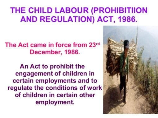 child labour (prohibition and regulation) act 1986