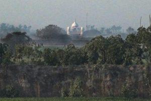 Gurdwara Kartarpur Sahib in PAK seen from Dera Baba Nanak in Pun