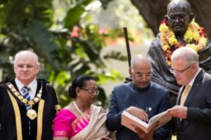 President unveils Mahatma Gandhi's bronze statue in Australia