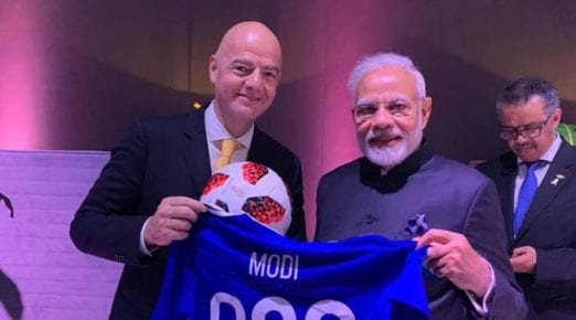Prime Minister Modi presented with the special jersey by FIFA chief at G20 Summit